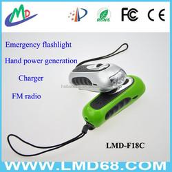 Dynamo 3 LED Flashlight Torch +FM Radio +Charger LMD-F18C