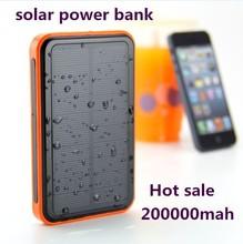 2015 new large capacity 20000 mAh waterproof portable solar power bank usb solar charger