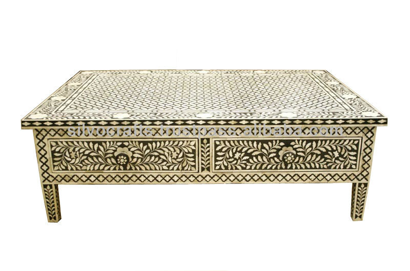 Style Camel Bone Inlay Coffee Table With Drawers Furniture Bone