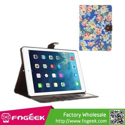 Fast Shipping For iPad Air Blossom Cloth Leather Diary Bracket Cover - Deep Blue
