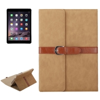 Hot Selling Bussiness Style Leather Cover for iPad Air 2 Case with Holder and Buckle