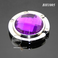 Purple Color Acrylic Stone Crystal Metal Bag Hooks