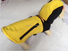 100% polyester Fall/Winter yellow zipper dog outdoor clothes dog clothes closet