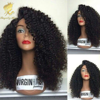 Cheap Brazilian Human Virgin Remy Hair U part/Afro Kinky Curly Lace Front Wigs 300density