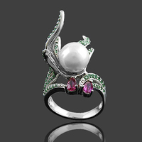 China Factory Direct Wholesale Sliver PearlJewelry Ring 2014
