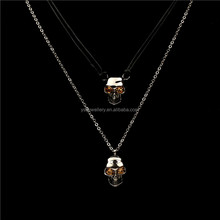 2015 Trendy Mens Skull Necklace Gun Black Plated stainless steel Necklace