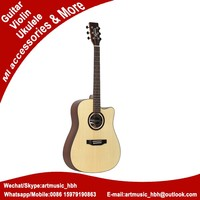 plastic round back acoustic guitar with wooden sound hole rosette
