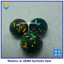 Hot Sale half drilled Synthetic Round blakc Opal beads