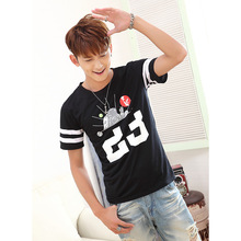 Summer round neck short-sleeved t-shirt lovers men and women student class service digital Slim T-shirt fashion city