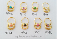 2015 new Surgical Steel 16G opal septum jewelry gold Opal Septum Clicker septum piercing for Indian for pierced nose