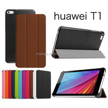 New arrival 3-folding Ultrathin Wallet PU Leather Flip luxury case for huawei mediapad t1 7.0 made in china