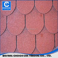 Red Color Round Shape Roofing 3 tab asphalt shingle