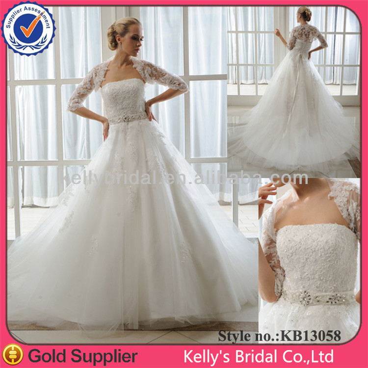 Wedding Dress Removable Lace Overlay : Cheap price detachable overlay lace top wedding dress or white
