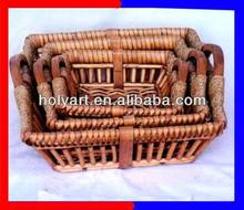 lined willow baskets