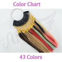 100% Asian Human Hair Color Ring/Color Chart With 43 colors Swatch for Remy Hair Extensions/color design