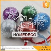Wholesale Simple Style Decoration Colourful Snowflakes Decorated Christmas Ball