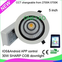 Made with SHARP COB 2700K to 5700K Android IOS APP control LED color changing downlight