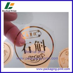 Newly 2016 custom adhesive circle logo print transparent sticker