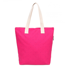 2014 High quality new designer colorful canvas tote bags wholesale polka dot tote bag China supplier