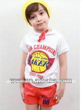 2014 caliente venta de blue/gris de algodón ropa de niño ropa de los niños al por mayor conjunto deporte ropa niños conjunto