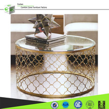 CN8009 cheap,Strong and reduced design gold plating glass top coffee table,side table