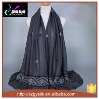 embroidery muslim long scarf islamic hijab