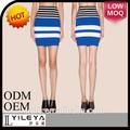 nuevos diseños de alta calidad elegante de color azul con rayas chicas sexy mini falda