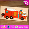 Competitive price safe educational assemble car wooden puzzle for children W14A144