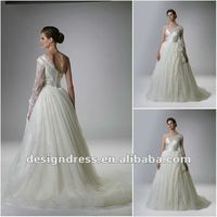 2013 popular design A-line ball gown silk satin beaded one sleeve wedding dress bridal gown by Rina Di Montella RB414