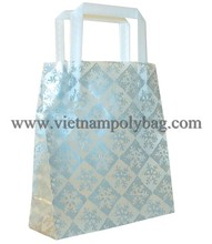 Special hot stamping tri fold handle plastic packaging gift bag