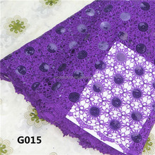Top one purple sequin fabric african lace Characteristic chemical lace embroidery fabricG015