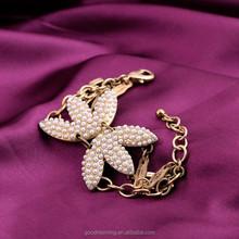 Tagua Jewelry Top Brands Bracelet Vintage Gold Plated Pearls Leaves Heart Charm Bracelets B1237