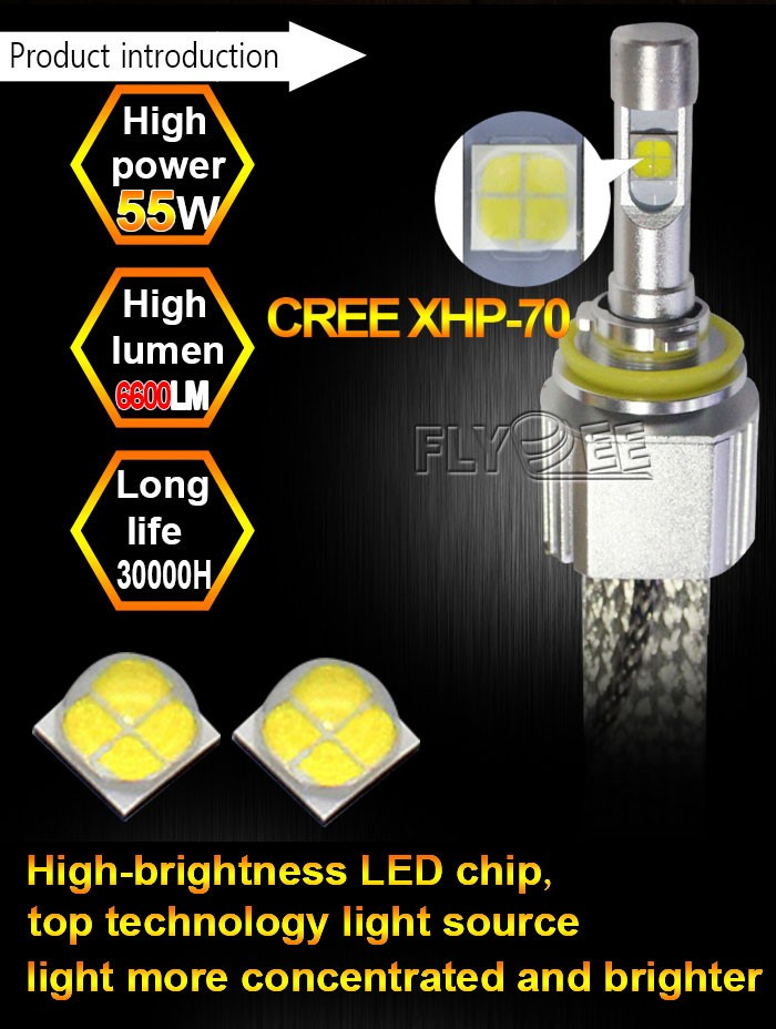 Super lumineux led phare 110 W 13200 lumen H7 9012 cris xhp70 led phare conversion kit remplacer halogène xenon ampoule