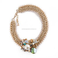 Wholesale statement necklace 2015 fashion gold plated alloy resin African beaded jewelry from China