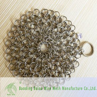 Stainless steel Chain Mail Scrubber for Cast Iron,metal chain for pan cleaning,stainless steel pot scrubber