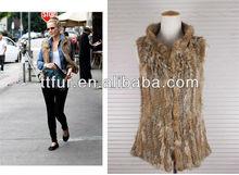 TT635 , North American popular rabbit fur knitted vest, famous star waring waistcoat