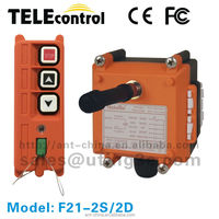 Top selling Telecontrol uting F21-2S 2 buttons 1 speed industrial radio remote control for hoist with up and down