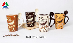 275ml custom tea cups ceramics with spoon in hand and full hand painted