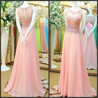 Imported Women Evening Dresses for Hijab A-line Chiffon Beaded Elegant Real Sample