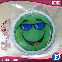 paper hanging air freshener in round shape with smile face design