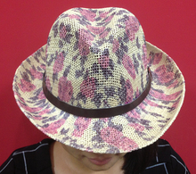 print woven straw hat with leather band
