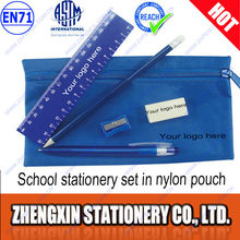 School supplies set pencil ball pen sharpener eraser ruler in a pouch