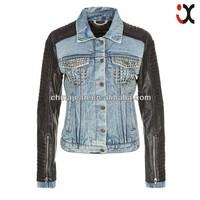 2015 stylish denim jackets for women lady jeans jacket lady leather denim jacket (JXJ24818)