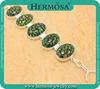 "Hermosa Pretty 925 Sterling Silver Genuine Green Daisy Flower Glass Murano Glass Women Charm Tennis Bracelet 8.25"" GM844"