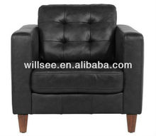 QY-1019-A,High Quality Leather or PU Sofa(Black)