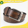 2015 New desinger man brown genuine raw leather belt with print logo for jeans