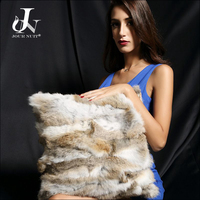 Patchwork Real Rabbit Fur Sofa Cushion Cover