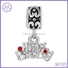 925 sterling silver Happy Birthday dangle charm for snake chain bracelet