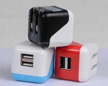 Best Selling Folding 5V 2.1A Dual USB Mobile Phone Charger UL Certificated