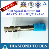 "1/2"" Dia x 25mm x 1/2"" up-down shear PCD router bit"